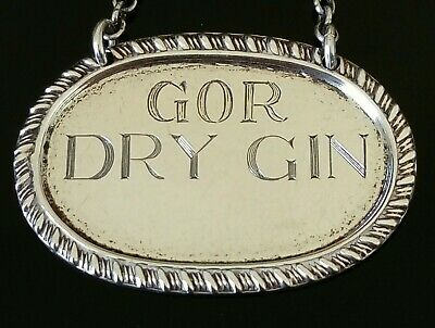 Art Deco Sterling Silver DRY GIN Decanter Label Chester 1935 Stokes & Ireland