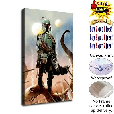 Boba fett poster HD Canvas prints Home Decor Wall art picture 12X20inch