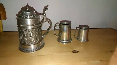 Trio Of Vintage Quality Decorative Pewter Tankards Bmf Zinn 15Cms Antique
