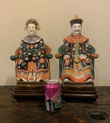 Pair of Large Vintage Chinese Emperor & Empress Qing Dynasty Porcelain Figures