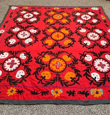 Antique Vintage Uzbek Tablecover Handmade Embroidery Wall Hanging Suzani