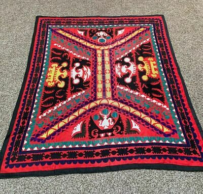 Uzbek Antique Vintage Tablecover Handmade Embroidery Wall Hanging Suzani