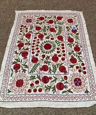 Beautiful Silk Embroidery Uzbek  Vintage Tablecover Handmade Wall Hanging Suzani