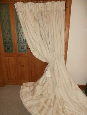 """Huge Ivory Striped Curtain & Tie 102""""Drop.CLEANED.Fixed Header Width 58 Inches"""