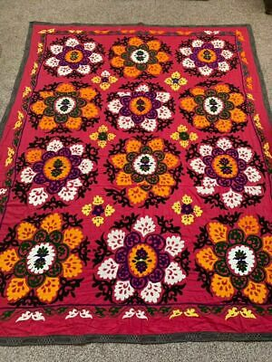 Handmade Embroidery Uzbek Antique Vintage Tablecover  Wall Hanging Suzani