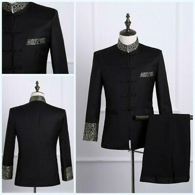 Mens 2 Piece Blazer Jackets Pants Stand collar Chinese tunic suit Slim Formal