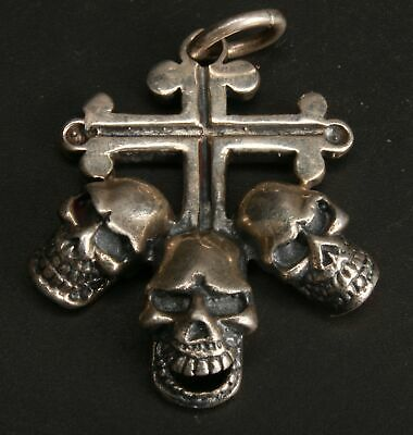 China 925 Silver Hand Carved Skull Pendant Jewelry Collection Old