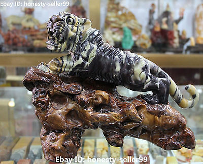 "12"" Chinese Natural Shoushan Handwork Stone Carving Tiger Tigers Animal Statue"