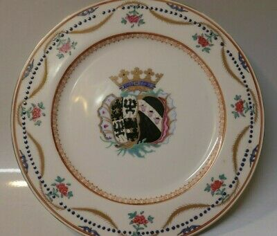 Early 20th Century Armorial Chinese Export Porcelain Plate - Floral Design 18th