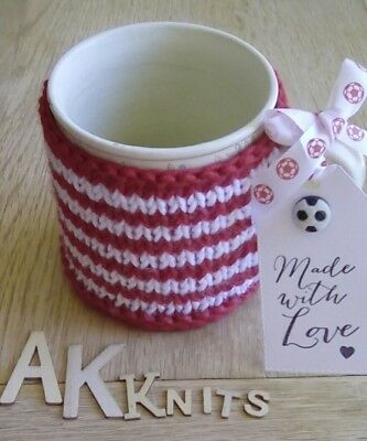 Hand Knitted Liverpool FC Red & White Mug Cosy For Him Made With Love  Gift Tag