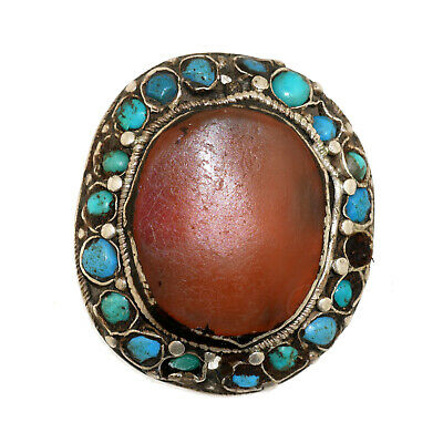 (2561)Antique Element of head decoration.Tibet / China Turquoise and carnelian.