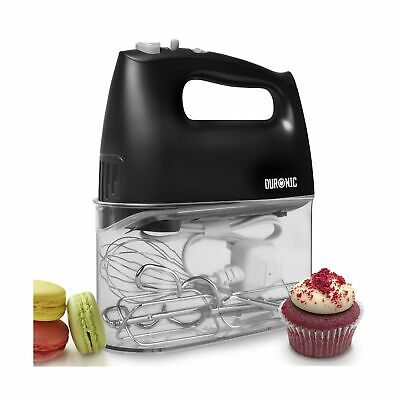 Duronic HM4 Electric Hand Mixer Set 400W - 2 Beaters | 2 Hooks | 1 Whisk - Ba...