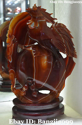 """14"""" Chinese Natural Agate Onyx Wealth Peanut Turnip Radish Chicken Rooster Chook"""