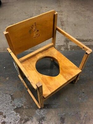 1950s Hedstrom Wooden Potty Chair with Rabbit Antique Vintage