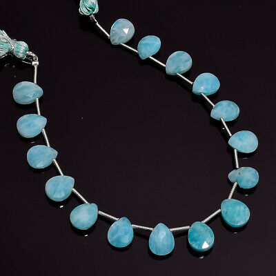 """42.35 Ct. Natural Amazonite Gemstone Pear Faceted Beads String 7"""""""