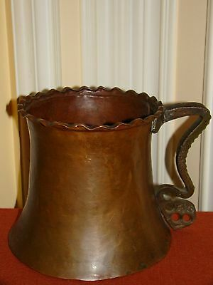 "Antique Handmade Hammered Copper Water Jug/Large Cup w/Brass Handle 6 5/8""Tall"