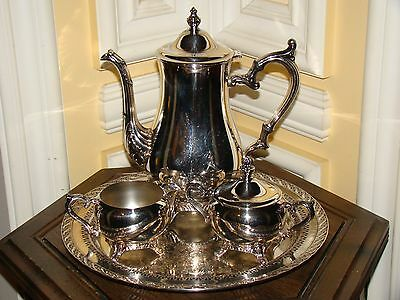 Wm Rogers800 Antique/Old Vtg Silverplate Coffee/Tea  Pot Sugar Bowl Creamer&Tray