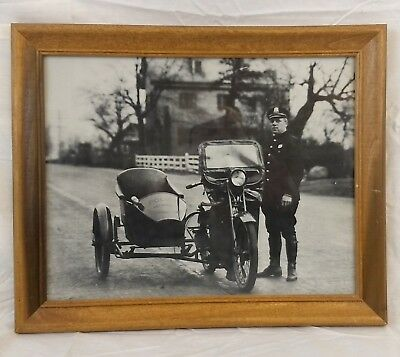 Police Officer Motorcycle & Sidecar 1930's Delaware State Highway Patrol Photo