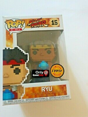 Funko Pop! 8- Bit Street Fighter #15 Ryu Chase Limited Ed. Game Stop Excl. Nib
