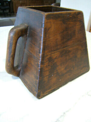 Antique Vintage Square Chinese Wood Rice Bucket w/ Handle Dovetail 9 x 10""