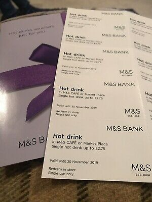 M&S Marks & Spencer Cafe Hot Drinks x 12 money off Vouchers Valid 30th Nov 2019