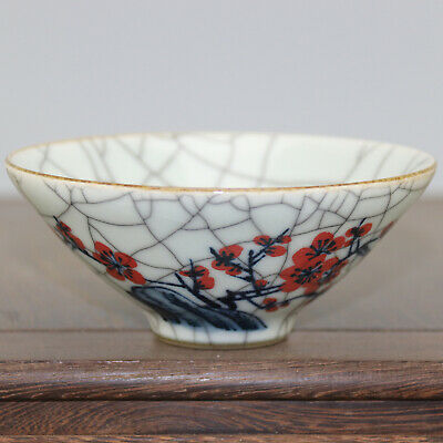 Chinese old hand-carved porcelain Blue & white youligong plum blossom bowl c02