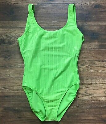 Women's Vintage CATALINA One Piece Swimsuit, Ribbed, Neon Green, High Cut, 90's