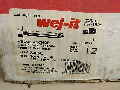 """Lot of (12) Wej-It 3460 3/4"""" x 6"""" Concrete Wedge Anchor - NOS, -FREE SHIPPING-"""