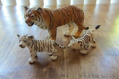 Mixed Tiger White Tiger Cub Figures Schleich, Safari LTD Lot of 3