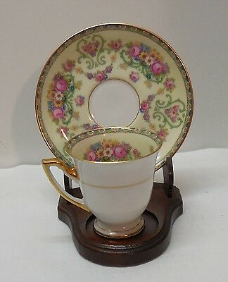 Thomas Bavaria Porcelain Teacup and Saucer with Flowers and Designs
