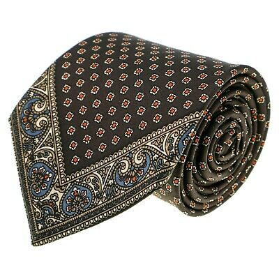 VINTAGE Italian Mens Tie 100% Silk Brown Beige Geometric Design