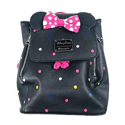 Disney Parks Loungefly Minnie Mouse Mini Backpack Black Pink Polka Dot Bow