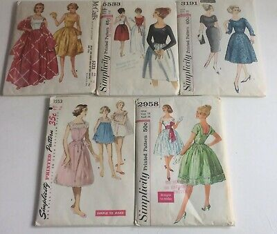 Vtg Lot of 5 Simplicity McCall Sewing Patterns 1950s Women's Dresses & PJs Sz 16