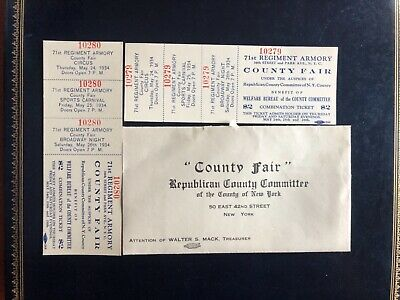 1934 Republican County Committee of NY Tickets 71st Reg Armory County Fair Rare
