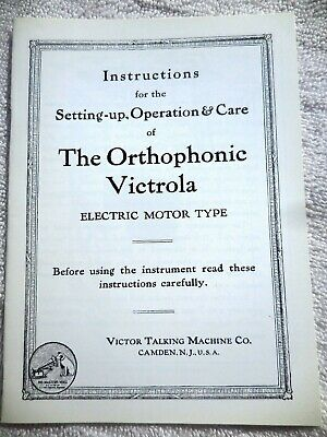 CREDENZA ORTHOPHONIC VICTROLA Instruction MANUAL ELECTRIC MOTOR Victor