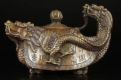 Chinese old Brass Hand-carved Dragon Teapot w Kangxi Mark