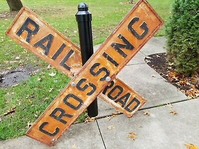 Vintage Antique RR Railroad Cast Iron CrossBuck Crossing Sign Old and Original
