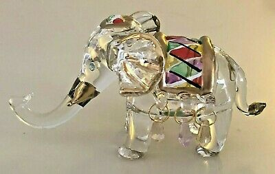 "4"" Clear Glass Crystal Elephant Figurine Handpainted Gold Trim Decorative"