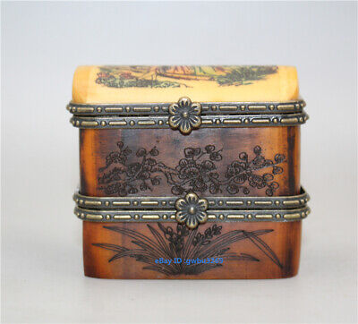 Collection Exquisite Chinese hand-carved flowers & Child box