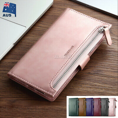 For Apple iPhone XS MAX XR Wallet Case Magnetic Zipper Flip Leather Card Cover