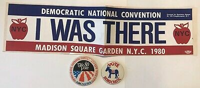 """1980 """"I WAS THERE"""" NYC DEMOCRATIC NATIONAL CONVENTION Bumper Sticker & 2 Buttons"""