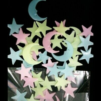 100PCS Removable Glow In The Dark Stars Moon Decal Wall Stickers Living Room