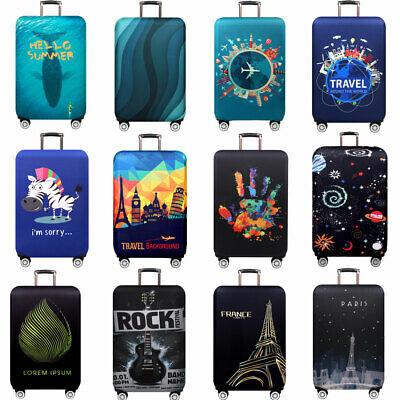 "Printed Thick Luggage Protector 18""-32"" Travel Suitcase Cover Elastic Dust-proof"