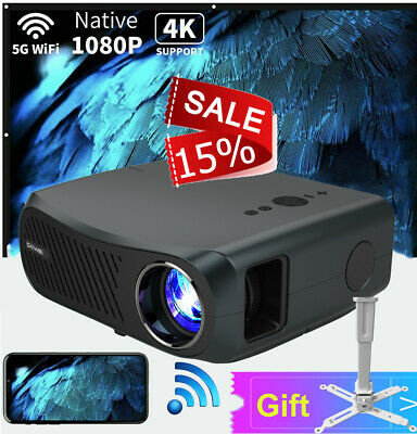 Smart HD Android Projector Wifi Bluetooth Video Home Cinema HDMI Night USB Movie