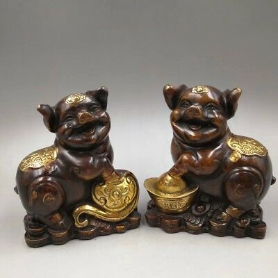 Chinese Antique Old copper hand-made gold plated Wealth pig Home decoration