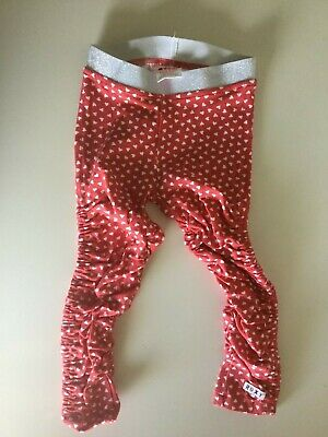 Roxy Teeny Wahine Girls Pink & White Love Heart Leggings - Size 1-2