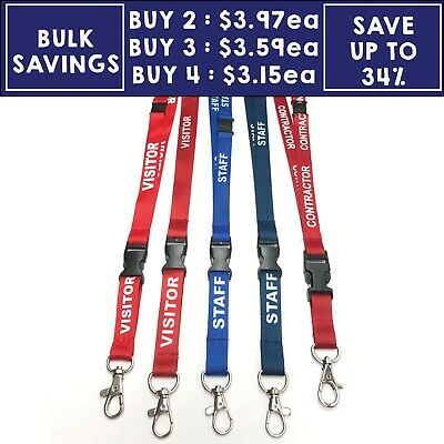 Lanyard Staff Blue Visitor Red Flat Safety Clip Swivel Release Buckle