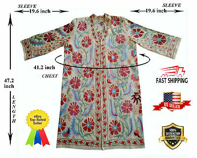 Handmade Uzbek Vintage Rare Embroidery Suzani Robe Dress Jacket Coat