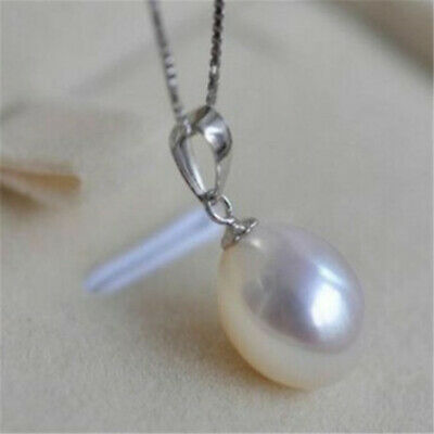 10x12mm South Sea White Pearls Necklace Pendant 14k Gold 18inch Retro Jewelry