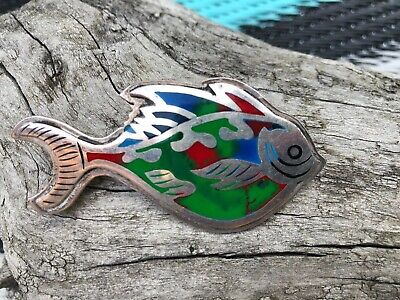 Vintage Sterling Silver With Enamel Fish Pin Ta-160  - Estate Find